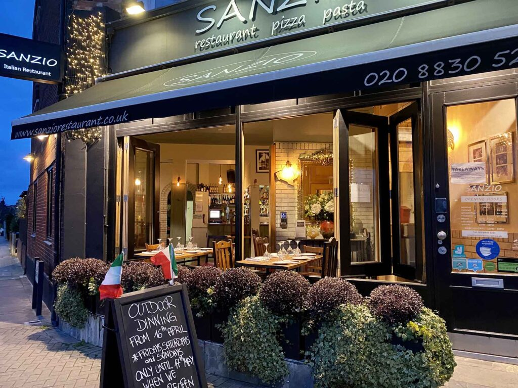 Sanzio restaurant Outdoor Dining and Takeways